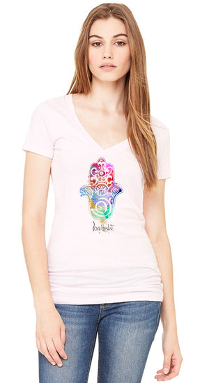 Hamsa Hand Women's V-Neck Tee - lovethislife, iamlovethislife, love this life, David Culiner, manifesto, ltl