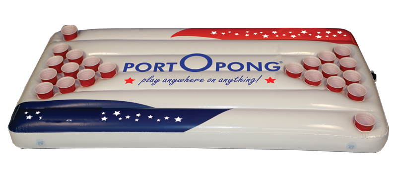 PORTOPONG, 6FT Inflatable Beer Pong Table Float - ALL AMERICAN - portOpong