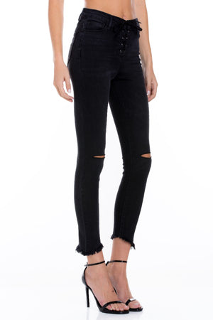 High Rise Lace Up Crop Skinny Jeans