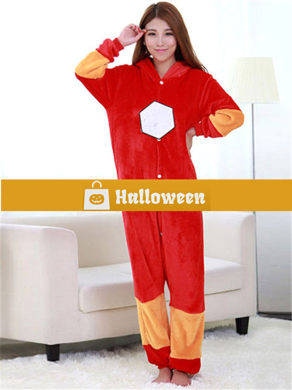 great prices soft and light factory authentic Halloween Kigurumi Adult Onesie Iron Man Pajama Red Flannel Cosplay Costume