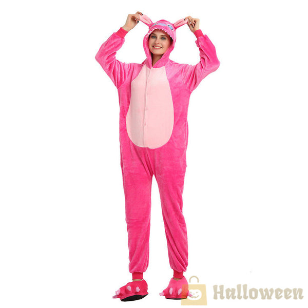 31290bb72041 Flannel Costume Blue Pink Stitch Cosplay Costume Adult Pajama ...