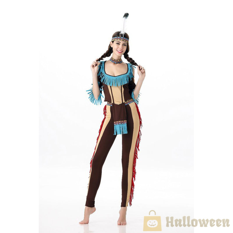 Native American Woman Adult Constume Indian Princess Cosplay Fancy Dress Set