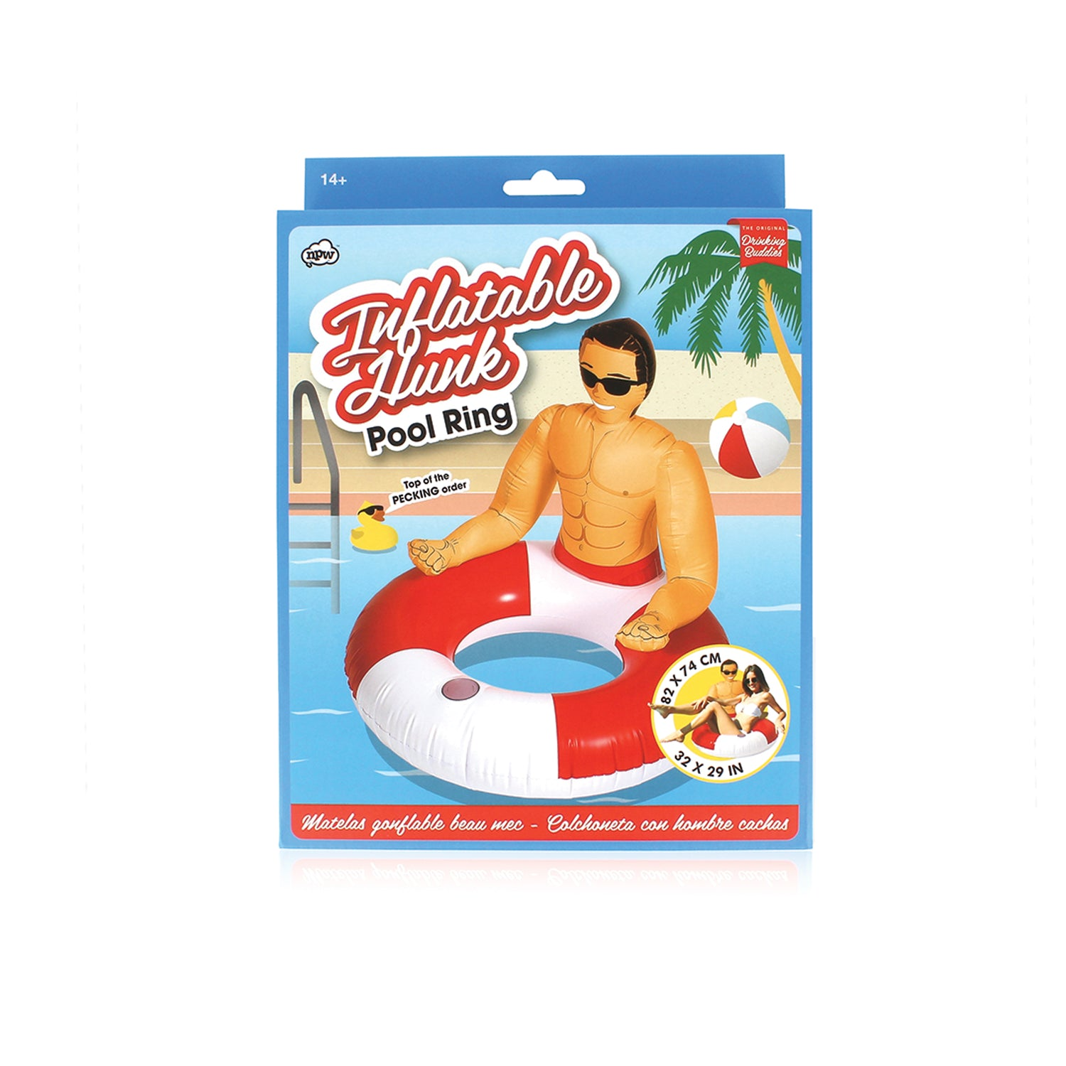 original drinking buddies, drinking buddies pool hunk ring, NPW53265, pool float, inflatable toy