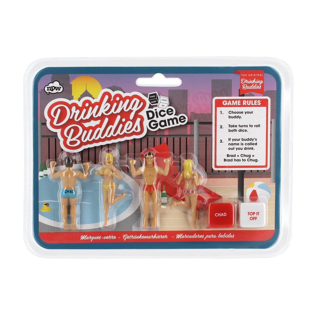 original drinking buddies, drinking buddies dice game, NPW67309, drink markers, wine charms, dice game, drinking game