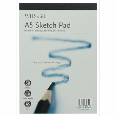 WHSmith A5 White Sketch Pad 50 Sheets