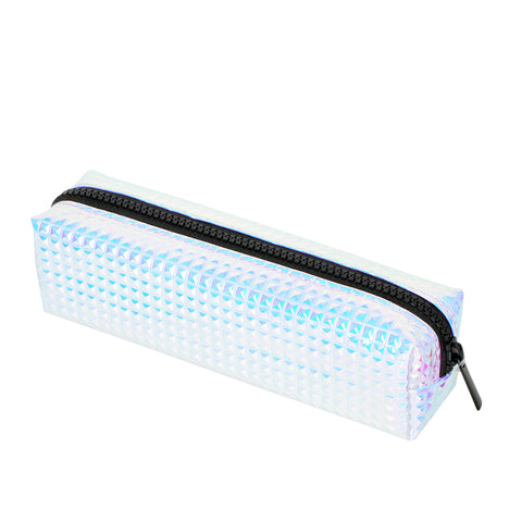 Embossed Silver Square Pencil Case