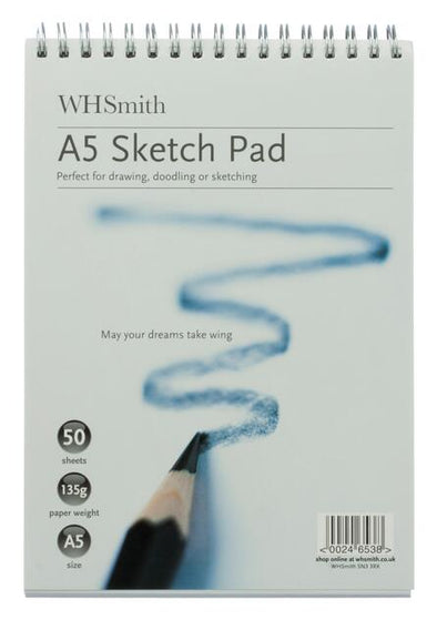WHSmith A5 White Spiral Bound Sketch Pad 50 Sheets