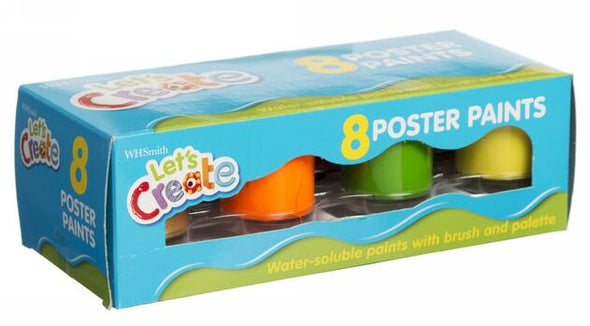 WHSmith Let's Create Poster Paints (Pack of 8)