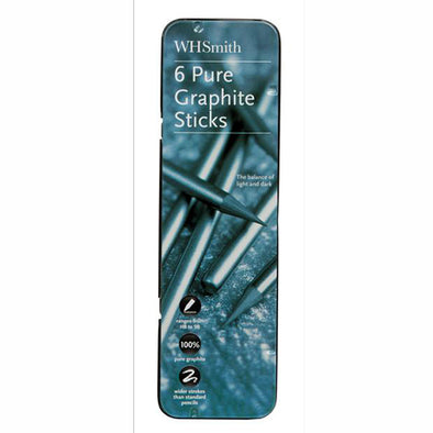WHSmith Graphite Sticks with 6 Graphite sticks (HB, 2B, 4B, 6B, 8B, 9B) Trim (Pack of 6)
