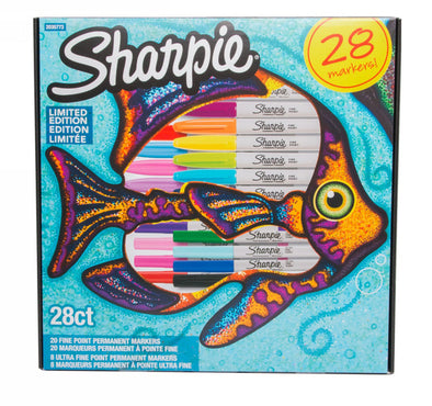Sharpie Fish Limited Edition Permanent Markers, Fine Nib, Assorted Ink (Pack of 28)