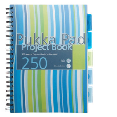 Pukka Pad Waves Assorted Colours A4 Wide Ruled Project Notebook