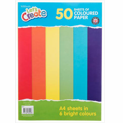 WHSmith A4 Bright Coloured Paper 50 Sheets