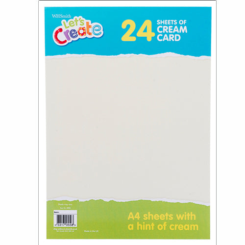 WHSmith A4 Cream Card 24 Sheets