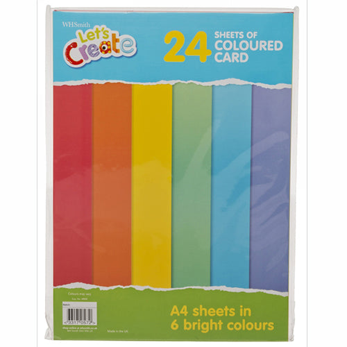 WHSmith Coloured Card 24 Sheets