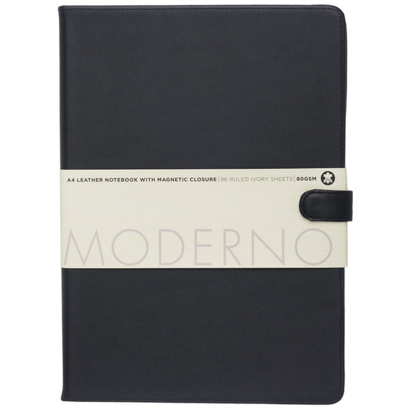 Moderno Black Leather A4 Notebook