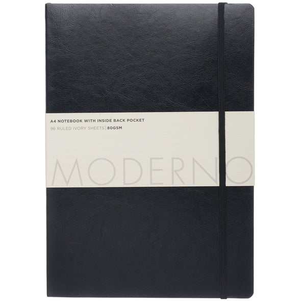 Moderno Black Soft Cover Leather Effect A4 Notebook