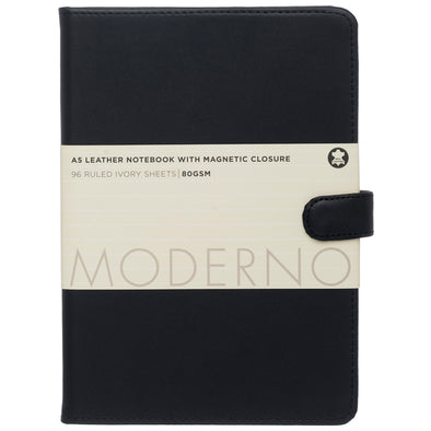 Moderno Black Leather A5 Notebook