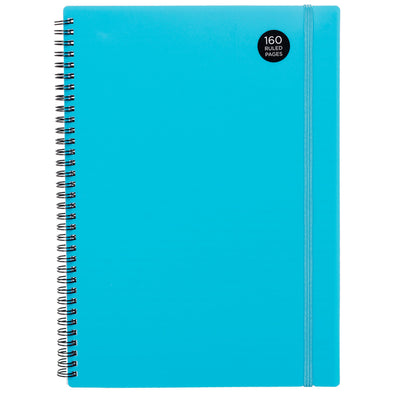 WHSmith Blue Poly Wiro Bound A4 Notebook