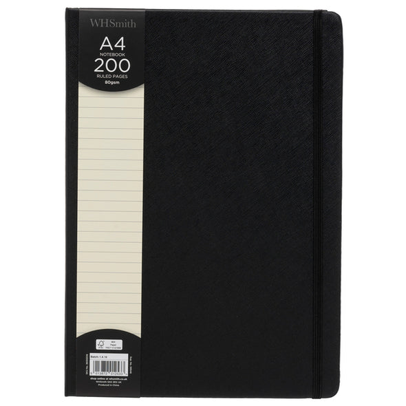 WHSmith Black Textured A4 Notebook