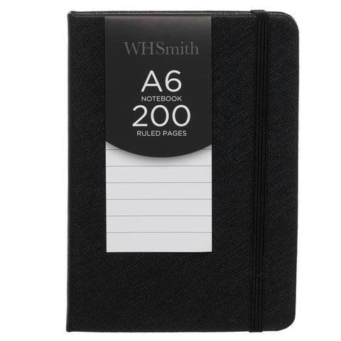 WHSmith Black Hardback A6 Notebook