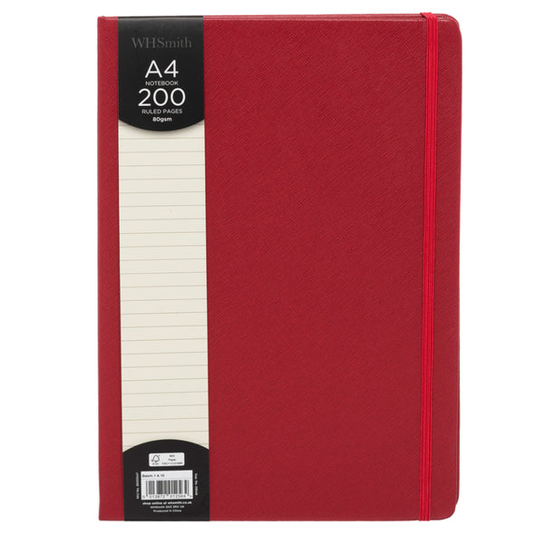 WHSmith Red Hardback A4 Notebook