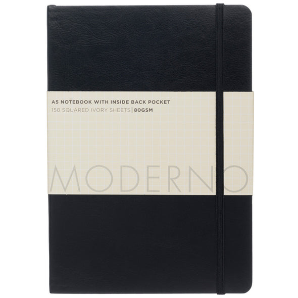 Moderno Black Chunky Soft Cover Leather Effect Squared A5 Notebook