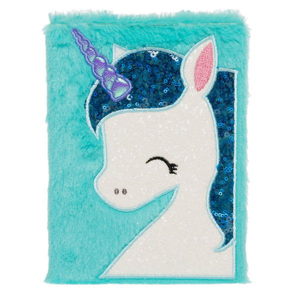 WHSmith Sequin Furry Unicorn A5 Notebook