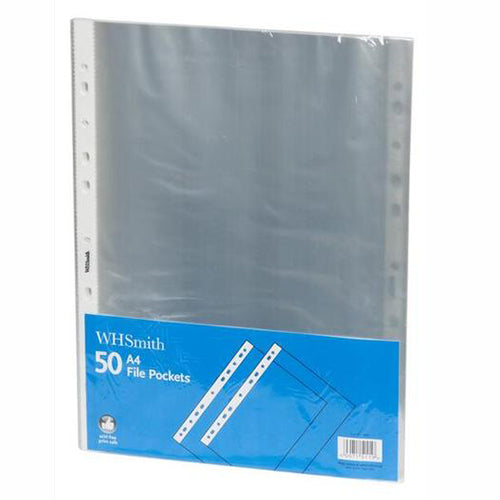 WHSmith A4 File Pockets (Pack of 50)
