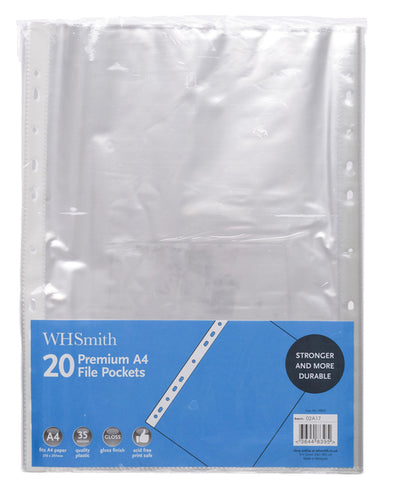 WHSmith Premium A4 Plastic File pockets (Pack of 20)