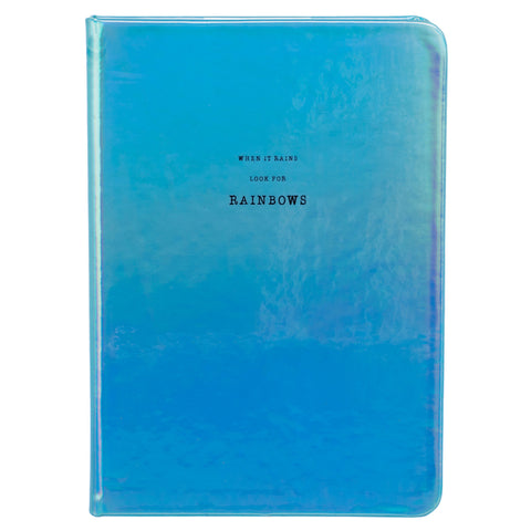 Blue Iridescent Rainbows Chunky A5 Notebook Journal