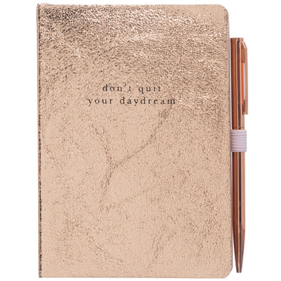 Rose Gold Crackle Effect A6 Notebook and Ballpen