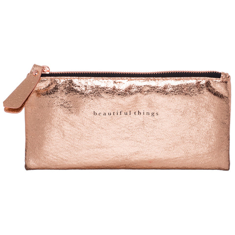 Rose Gold Crackle Effect Beautiful Things Make Up Bag