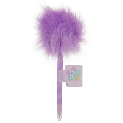 Purple Fluffy Ball pen, Black Ink
