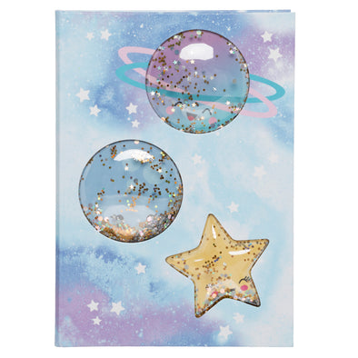 WHSmith Sparkle Pop Stars and Moon Glitter Shake A5 Notebook