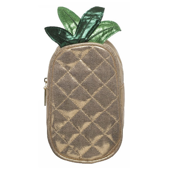 Pineapple Pencil Case In A Gold Glittery Fabric