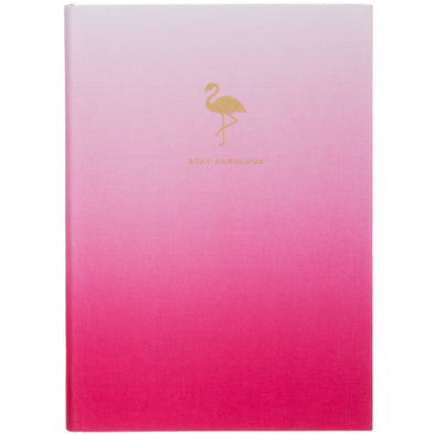 Wild Tropique Pink Linen Flamingo A5 Notebook Journa