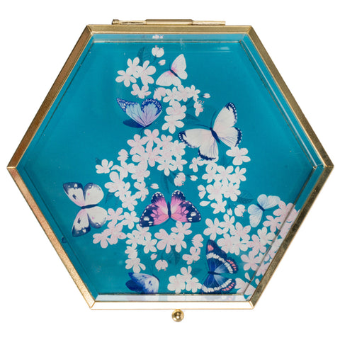 Amaya Butterflies Glass Trinket Box