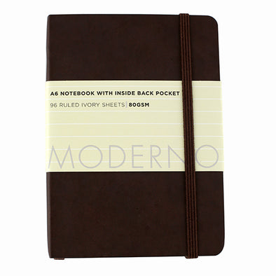 WHSmith Moderno Chocolate Ruled Notebook A6