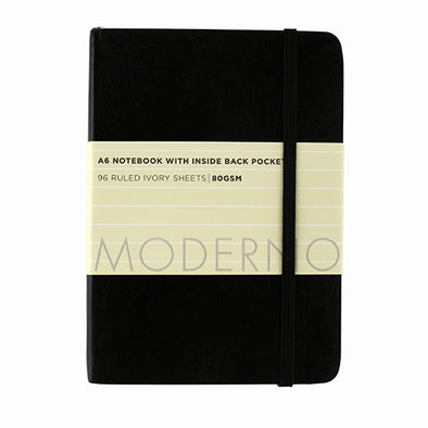 WHSmith Moderno Black Ruled Notebook A6