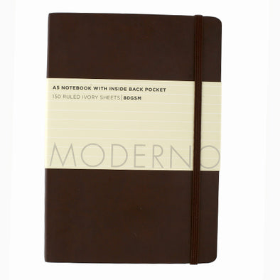 WHSmith Moderno Chocolate Ruled Notebook A5