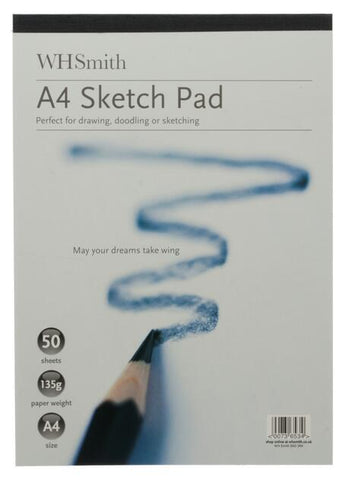 WHSmith A4 White Sketch Pad 50 Sheets