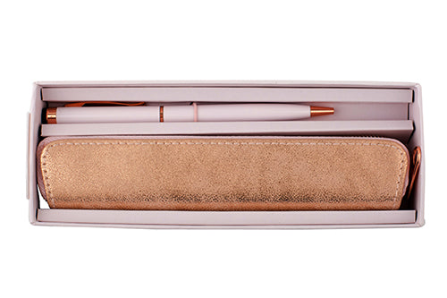 Rose Gold Pen and Pouch Set, Black Ink