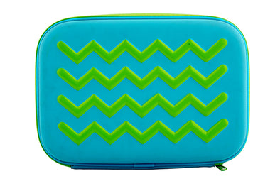 WHSmith Eva Blue/Green Chevron Pencil Case