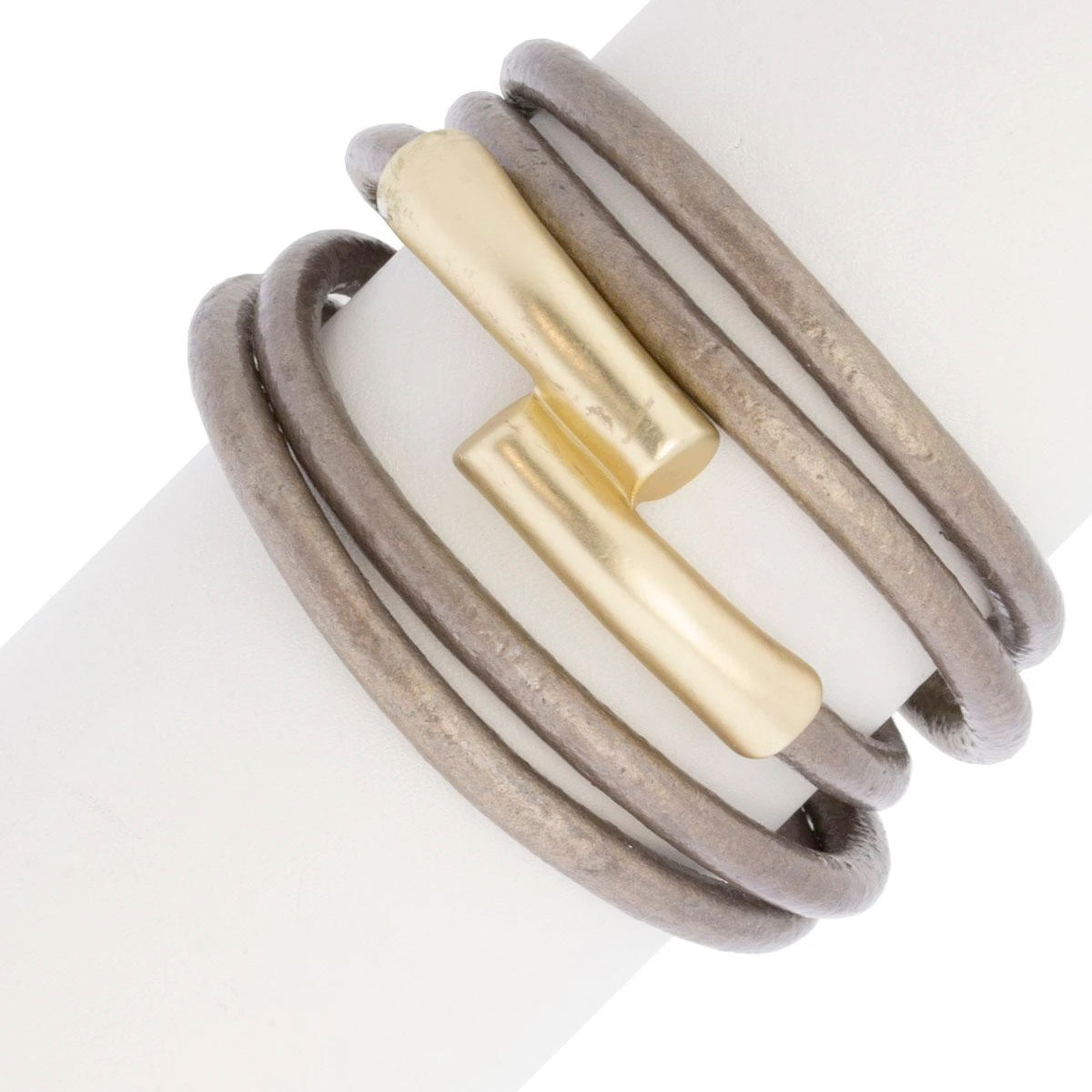 BRONZE LEATHER TUBE BRACELET - Bronze