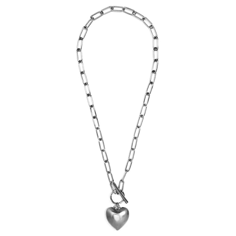 MATTE SILVER HEART PENDANT NECKLACE