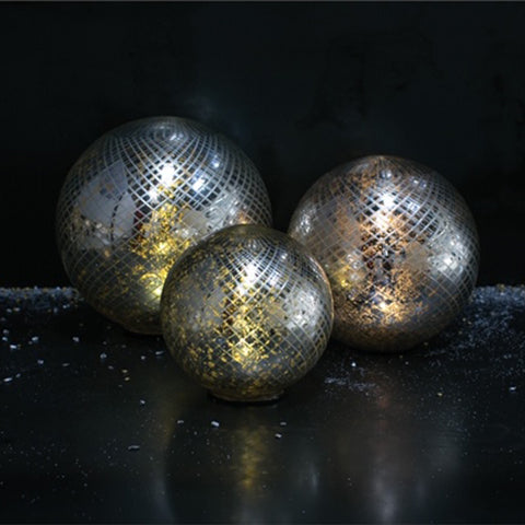 LED SPHERE SILVER 9.75""