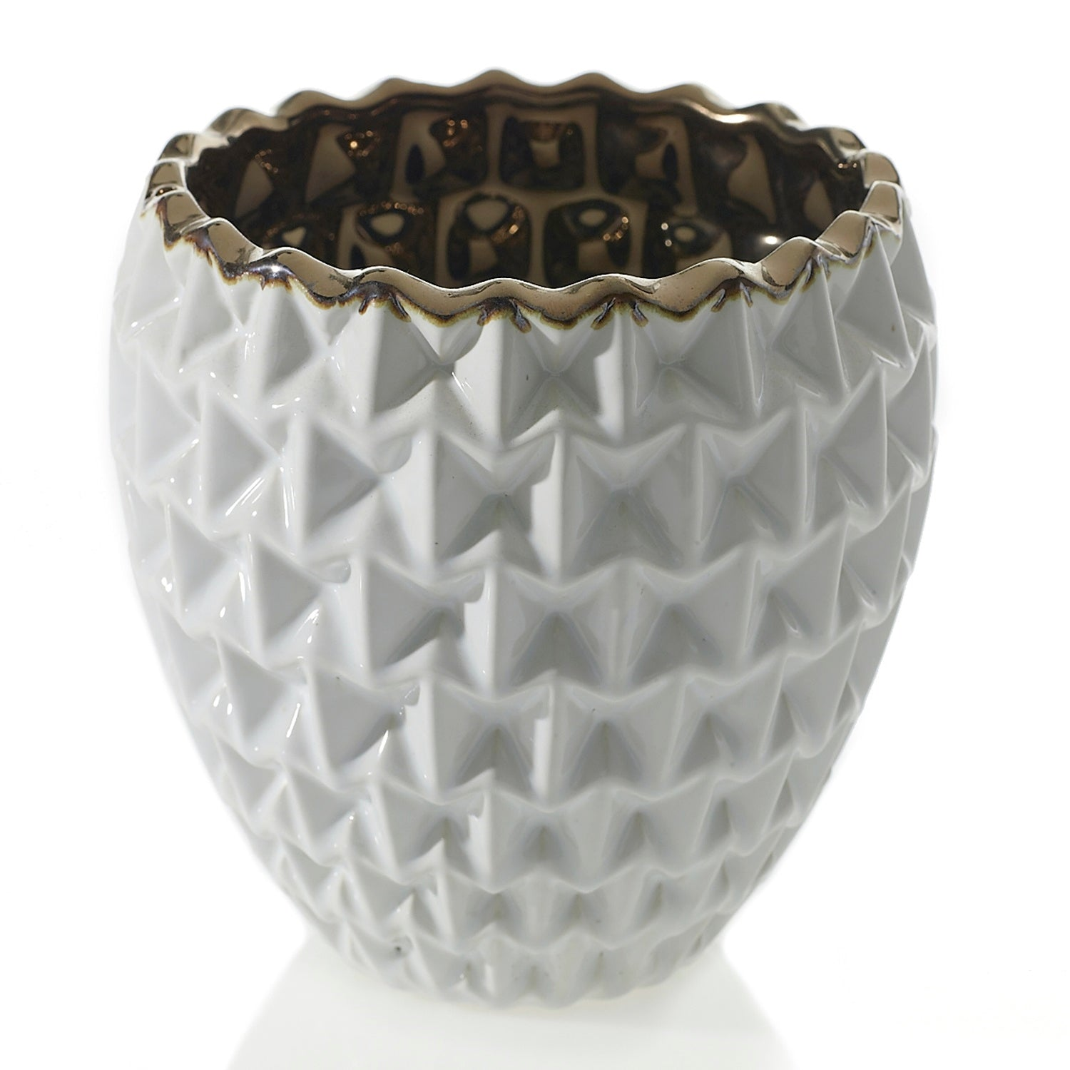 "MELROSE POT 6.5""x 7.25"" White"