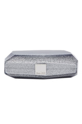 two toned clutch silver and midnight
