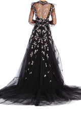 Monique Lhuillier Black Tulle Gown