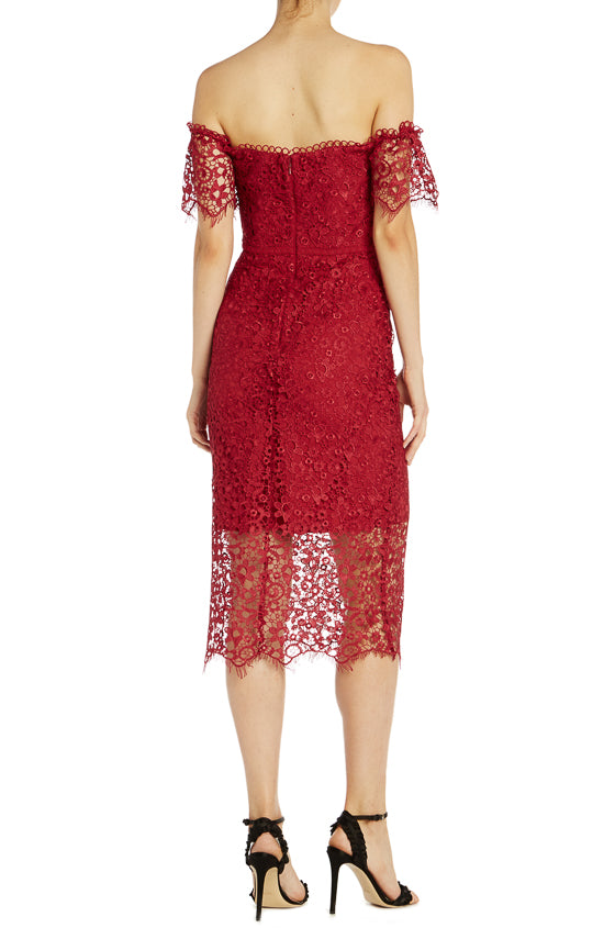ML Monique Lhuillier Off Shoulder Lace Cocktail Dress